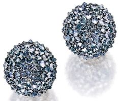 JAR Paris. PAIR OF 18 KARAT GOLD, SILVER, AQUAMARINE AND DIAMOND EARCLIPS, JAR, PARIS. Designed as spheres set with numerous reverse-set aquamarines, accented by single-cut diamonds weighing approximately .70 carat, signed JAR Paris, with French assay and workshop marks. Estimate 25,000 - 35,000 USD / LOT SOLD 187,500 USD [S. IMPORTANT JEWELS - 05 FEBRUARY 2015 - NEW YORK] #JAR #JARParis #JoelArthurRosenthal