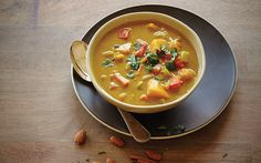 Almond butter lends this hearty autumnal soup a velvety, creamy texture. Add chicken, lamb, beef, or pork, if you like. Or, for a vegan soup, use vegetable stock as a base.