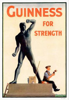 "Our twelfth Guinness poster by John Gilroy is another in the ""Guinness For Strength"" series, this time featuring a stone statue pining for a Guinness. Vintage Labels, Vintage Ads, Vintage Posters, Guinness Advert, Guinness Book, Beer Poster, Pin Up, Best Ads, Beer Signs"