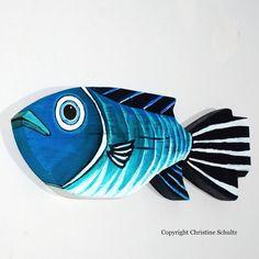 Decoración de pescado de madera pintado de verde y azul arte