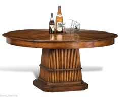 """#Dining Table Round Expands #Jupe Reed Base #British Colonial 84"""" > 64"""" converts Walnut New"""