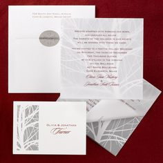 Elegance with a natural touch, this gilclear invitation folder wraps around a non-folding card featuring a white tree against a silver metallic background. Your wording is printed on the front of the folder; the card beneath acts as a beautiful wooded backdrop.