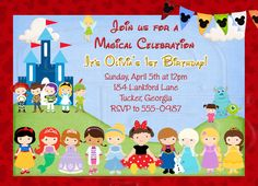 Magical Character Invitation-Digital File by graciegirldesigns77 on Etsy