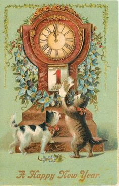 """vintage """"A Happy New Year"""" postcard cats Vintage Happy New Year, Happy New Year Cards, New Year Greeting Cards, New Year Greetings, Happy New Year 2019, Vintage Greeting Cards, Vintage Christmas Cards, Christmas Cats, Photos Nouvel An"""