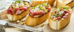 carpaccio bruschetta's ( stokbrood dunner snijden)