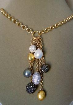 NEW City Night -- Baroque Pearl, Pave Beads, Swarovski Pearl Drop necklace Real Diamond Necklace, Pearl Drop Necklace, Beaded Necklace, Pendant Necklace, Wire Jewelry, Jewelery, Jewelry Necklaces, Music Jewelry, Jewelry Armoire