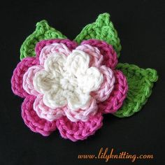 very very easy crochet flower  pattern | PATTERN – Crocheted Brooch Bouquet Flower Applique — Flower 20