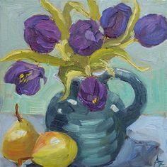 """Daily Paintworks - """"Purple Tulips IV"""" by Azra Iqbal"""