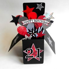BIRTHDAY CARD LUXURY 3-D POP UP BOX CUSTOM AGE 21 18 TATTOO ROCKABILLY GOTH PUNK | eBay
