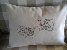 Heart Strings Europe Map Pillow $49