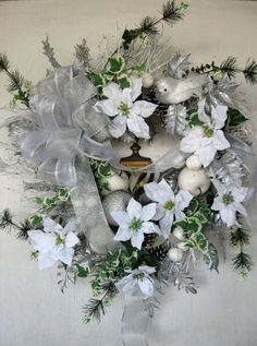 White Christmas Wreath, White Poinsettia and Ivy Winter Wreath, Silver and White Holiday Wreath by JitterbugFlorals on Etsy