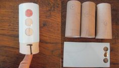 Fast traffic light craft out of a toilet paper roll. This works best with a hole punch. Measure the paper cover to fit the roll with a little extra space for glueing. Punch three holes. I usually cover them with scotch tape and glue the ends together to form a tube that is slightly bigger than the roll. Mark the spaces on the rolls for the colours. Slide the cover one third for the next colour.