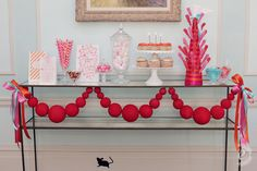 red ball garland sweets table