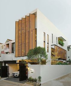 Nakit House in by NaCKit Architect Photo by Wilmez Photography - Pin This Villa Design, Facade Design, Exterior Design, Modern House Facades, Modern House Design, Building Facade, Building Design, Residential Architecture, Contemporary Architecture
