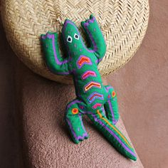 Green and Purple Bean Bag Style Mola Applique Lizard  by molamama