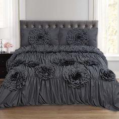 Sweet Home Collection Scarlett Ruched Fancy Floral 3 Piece Duvet and Pillow Sham Set Bed Duvet Covers, Duvet Sets, Duvet Cover Sets, Pillow Shams, Chevron Bedding, Ruffle Bedding, Linen Duvet, Sweet Home Collection, Space Furniture