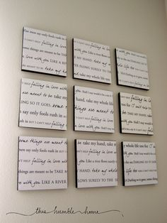 First dance lyrics as home decoration - DIY