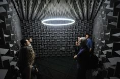 Haroon Mirza, Installation view, The National Apavilion of Then and Now (2011), anechoic chamber, LEDs, amp, speakers, electronic circuit, image courtesy the artist and Spike Island