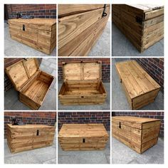 Rustic Clamshell Wooden Trunk Handmade from Reclaimed Wood by TimberWolfFurniture on Etsy