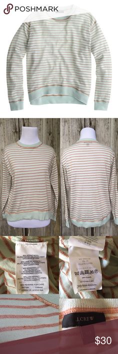 JCrew Merino Wool Mint Metallic Striped Sweater Style: C2500 • Color is mint green and gold metallic • Condition: used. A few snugs of metallic. See picture. • Sweater is boxy • Measurements in pictures • NO TRADES J. Crew Sweaters