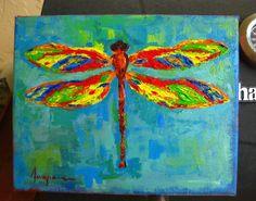 Dragonfly art, Art, room decor, acrylic painting, home decor, art, housewarming gift, Holiday Gift Idea, original acrylic painting. $75.00, via Etsy.