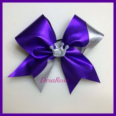 Fit for a Princess Cheer Bow in Purple and by desarosebowtique, $15.00