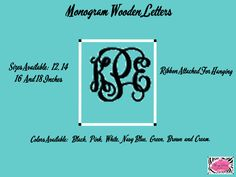 Monogram Wooden Letters.  Perfectfor above a crib, On a door or use it in a wreath.  www.facebook.com/pages/Sassy-Decor-and-More-LLC/365352106761