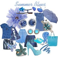 """""""Summer Blues: shades of blue for soft, true and light summer"""" by jenmariecolor on Polyvore"""