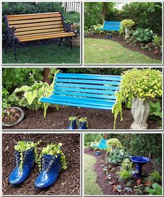 olla podrida lovely pop of color with a brightly painted garden bench