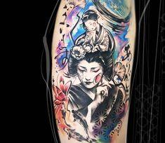 Geisha tattoo by Carolina Caosavalle