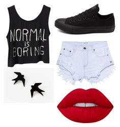 """Untitled #2"" by s-ienna ❤ liked on Polyvore featuring Converse, One Teaspoon and Lime Crime"