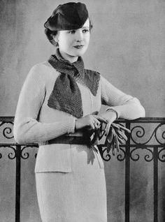 1930s Crocheted Dress Pattern Tuxedo  by VintagePatternPlace, $4.99