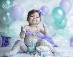 Dallas Cake Smash Photographer, mermaid cake smash, mermaid, purple, blue, balloons, bubbles