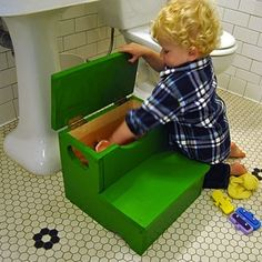 Store away bath toys, dishrags, or other small necessities in this DIY step stool
