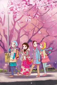 otai 4 by justjimi19.deviantart.com on @deviantART Cartoon Girl Images, Girl Cartoon, Cute Cartoon, Hijab Anime, Hijab Drawing, Friend Cartoon, Bff Drawings, Islamic Cartoon, Hijab Cartoon