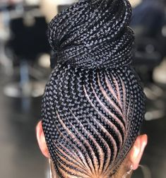Beautiful braided bun  Ig : y@nnabear Goddess Braids, Hair Braiding Styles Black, Black Hair Braids, Braided Ponytail Black Hair, Cornrows Braids For Black Women, Braids In A Bun, Braids For Kids, Braid Styles, Braids For Black Kids