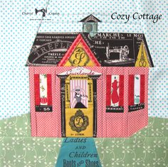 Charise Creates: Cozy Cottages  look at the detail! see the striped fabric in the roof-line? look at the right side of the porch #27 part! Such detail!