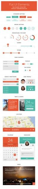 User interface elements in flat design Free Psd