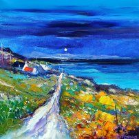 Moonrise on the Golden Road Isle of Harris - John Lowrie Morrison OBE - Jolomo - Hebridean Moons Abstract Landscape, Landscape Paintings, Landscapes, Isle Of Harris, Homemade Art, Pallet Painting, Bottle Painting, Naive Art, Palette Knife