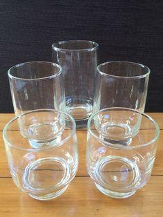 Vintage Drinking Glasses Heavy Pedestal Bases - Hip & Retro Set Of 5