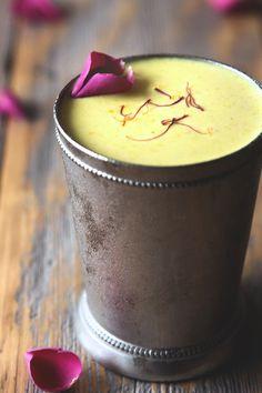 Badam Milk Recipe (Indian drink with almond, cardamom, saffron and rosewater)