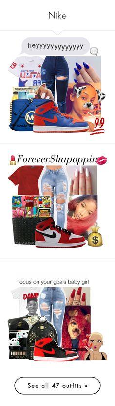 """Nike"" by badleaa ❤ liked on Polyvore featuring Retrò, Ralph Lauren, H&M, MCM, NIKE, Franklin, Topshop, Fila, IRO and Boohoo"