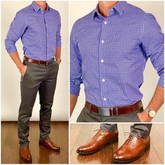 Look at these casual mens fashion Mens Dress Outfits, Formal Men Outfit, Men Dress, Stylish Mens Fashion, Big Men Fashion, Men's Fashion, Fashion Boots, Fashion Shirts, Blue Gingham Shirts