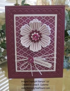 lovely handmade  card ... monochromatic Rich Razzleberry ... Mixed Bunch flower and punch ... like this design ...Stampin' Up!