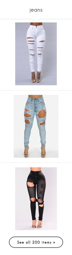 """""""jeans"""" by taisrios ❤ liked on Polyvore featuring pants, bottoms, jeans, denim, high-waisted skinny jeans, high waisted skinny jeans, denim skinny jeans, ripped denim skinny jeans, distressed denim jeans and torn jeans"""
