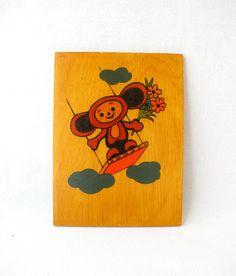 Cheburashka, Character from soviet cartoon, Wooden picture, Nursery decor