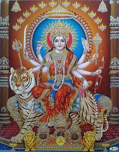 Receive Nine-Fold Blessings from Powerful Forms of Goddess Durga on Auspicious Ugadi. Shiva Art, Ganesha Art, Krishna Art, Lord Ganesha, Hare Krishna, Durga Ji, Durga Goddess, Maa Durga Photo, Happy Navratri Images
