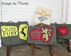 Game of Thrones Bag PERSONALIZED Messenger Bag Backpack GoT Stark Lannister Targaryen Baratheon Sigil Vintage Army Bag Convertible Bag...My favourite bags on etsy!