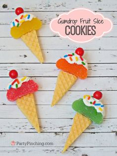 ice cream cookies, gumdrop fruit slice candy, wafer cookies, cute cookies, summer cookies, summer party ideas, picnic desserts, kid friendly food, edible crafts, party pinching