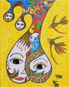 Kunstsamlingen | Artist: Barbara Kaad Ostenfeld | Title: En FantasiTastisk Mor/ A FantasyTastic Mother | Height: 50cm,  Width: 50cm | Find it at kunstsamlingen.com #kunstsamlingen #kunst #artcollection #art #painting #maleri #galleri #gallery #onlinegallery #onlinegalleri #kunstner #artist #danishartists #bakaos
